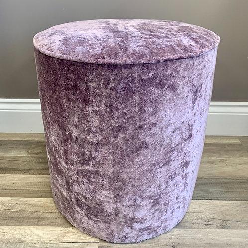 Upholstered Pouffe Seat in Berry Crush Velvet