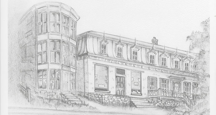 Drawing of the building of La Belle Époque - Auberge B&B