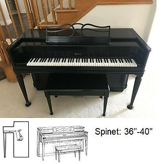 Luna's Piano Movers - Piano Measurements Baldwin Spinet 30inch with diagram