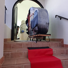 Piano Moving up a staircase. Los Angeles Piano Moving Company