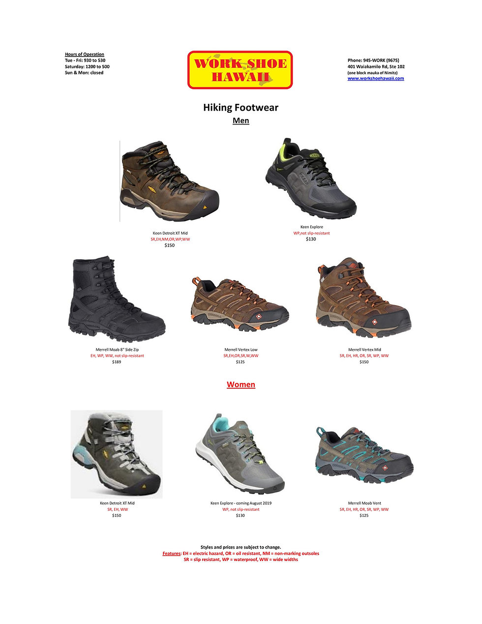 Hiking Men Women Work Shoe Hawaii