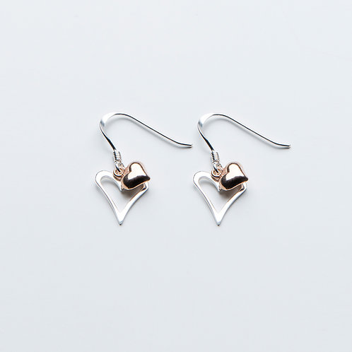 Rose Gold & Silver Drop Earrings