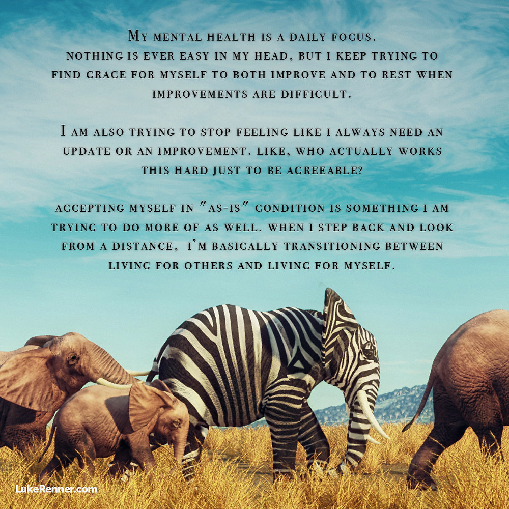 A herd of elephants but one has a zebra pattern.