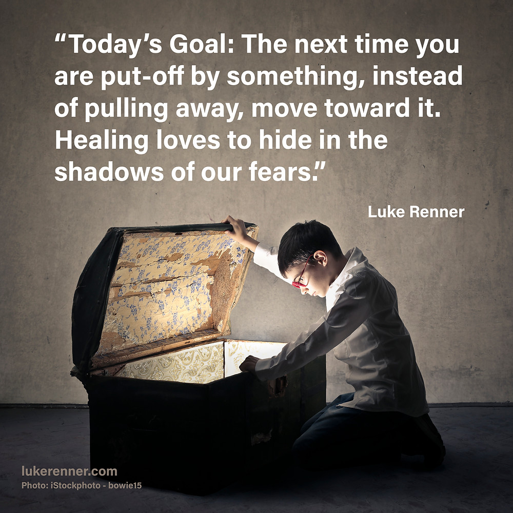 Inspirational quote by Luke Renner over an image of a young boy looking into a treasure chest.