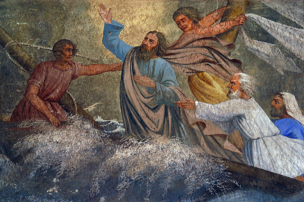 An painting of Jesus calming the storm with His disciples.