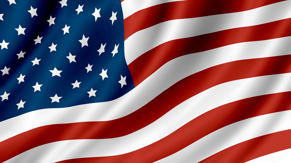 A close photo of the American flag.