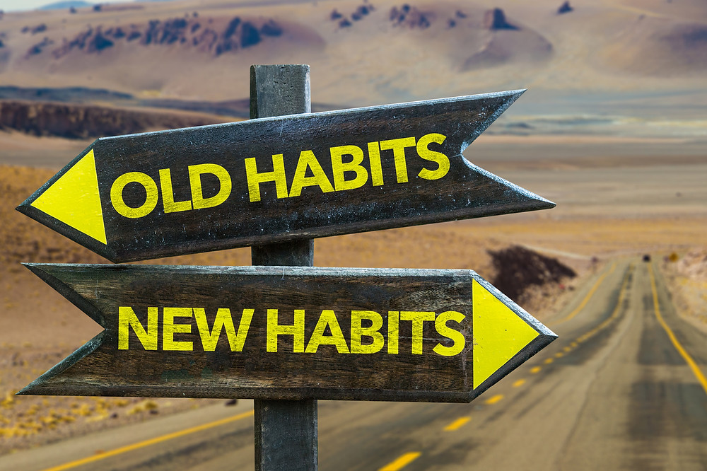 "Two signs - one, pointing left, says ""old habits"" while the other, pointing right, says ""new habits."""