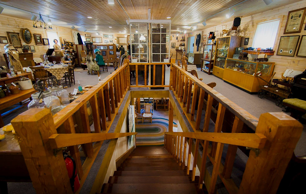 a wide view of the upstairs of the Pendleton Historical Museum