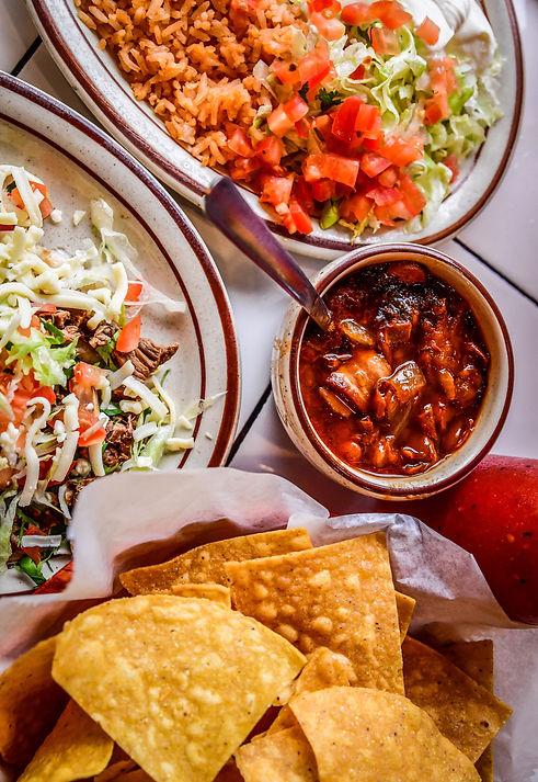 Tacos de Asada a La Unica, Charro beans, chips & salsa