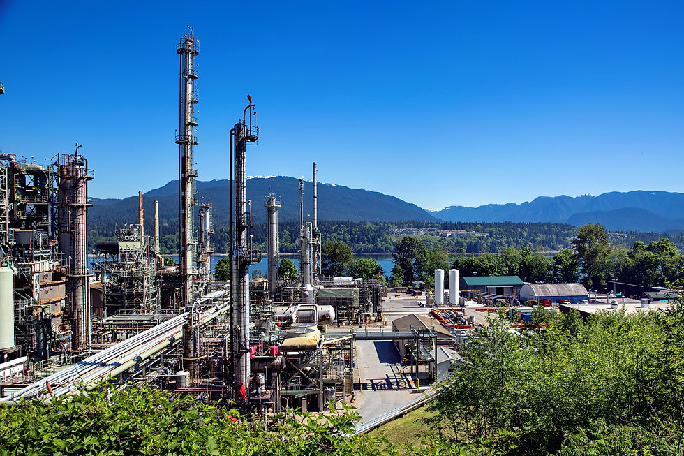 Oil refinery on a background of nature,