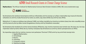 AIMS Small research grant for climate change