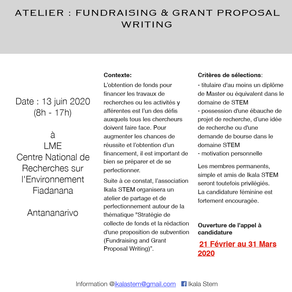 Atelier : Fundraising and grand proposal writing. Deadline - 31 Mars 2020