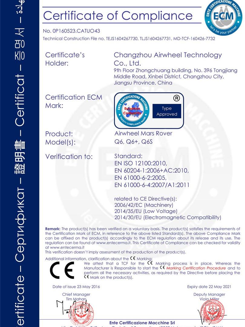 Airwheel_Q6_CE_Certificate_2018013117222