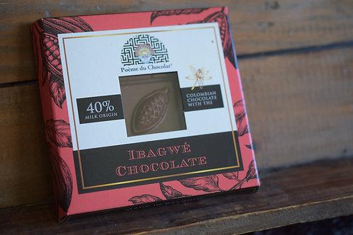 40% colombian milk chocolate with the GV/LV/MV/SOYAVRIJ