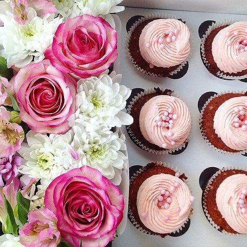 Cupcakes 6st + bloem boeket
