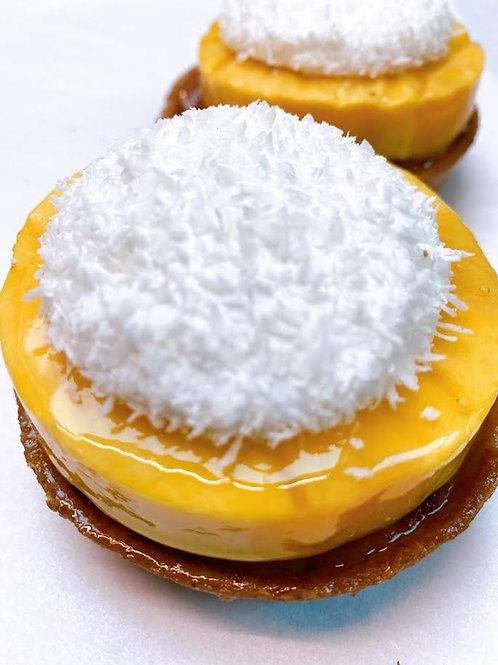Tartelet Mango - Passiervrucht - Kokos - Frangipan GV/LV/SOYAVRIJ- 1 pers