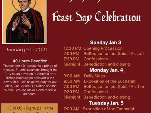 St. John Neumann's Feast - Jan 5 Mass Celebrated by Bishop Zubik