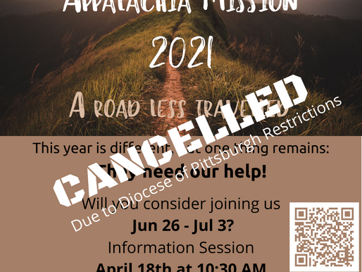 Appalachia Mission 2021 - Cancelled