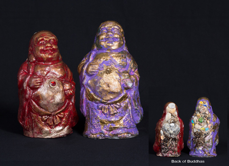Seashore Buddhas: red, purple