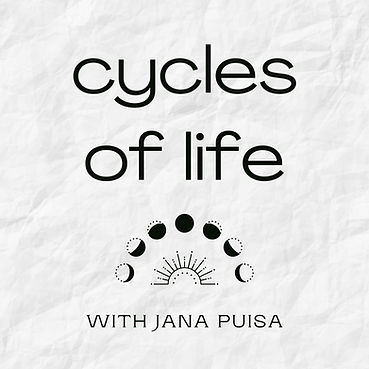 White logo with 'cycles of life with Jana Puisa' written on it. An illustration with lunar cycles