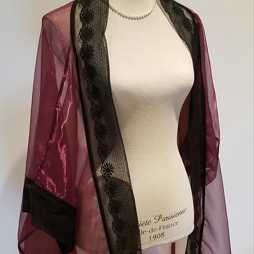 Sheer Kimono with Black Lace