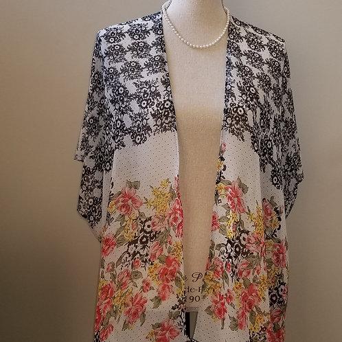 Flowers and Black Fringe Kimono