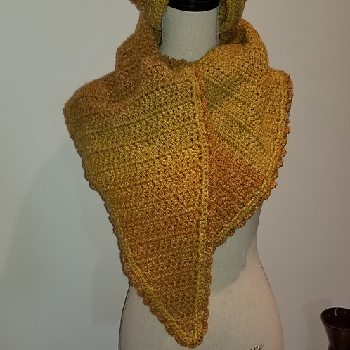 Golden Unique Triangular Scarf with matching Hat