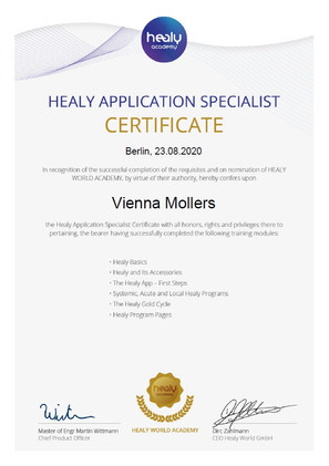 Healy Application Specialist Certificate
