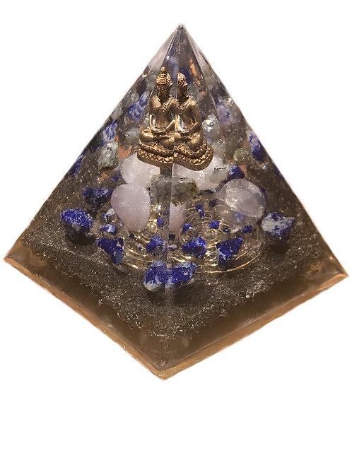 "Orgonite piramide ""Buddha"" met de Gouden Driehoek, Lapis Lazuli en Labradoriet"