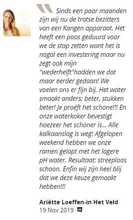 Recensie ervaring gratis Kangen Water Sharana Voerendaal Zuid Limburg
