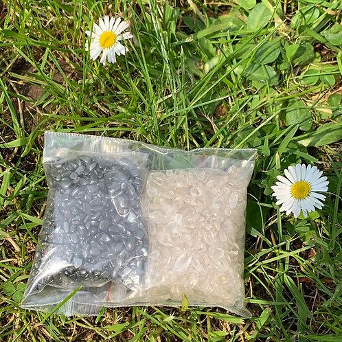 Hematiet en Bergkristal set voor ontladen en opladen