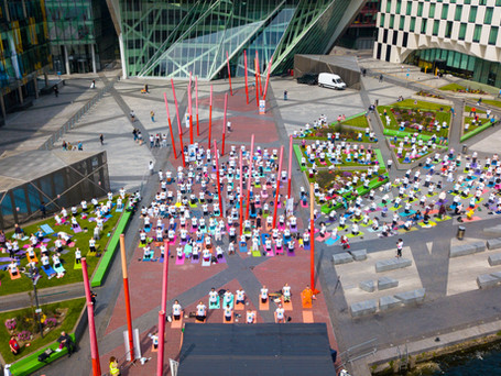 Aerial photo of the International Day of Yoga 2019.
