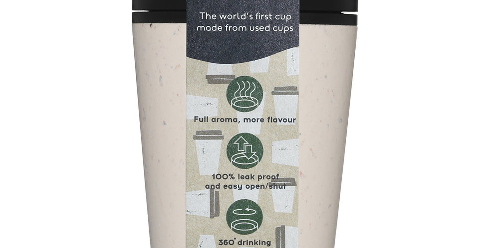 rCUP Recycled Coffee Cup - 8oz - White Black