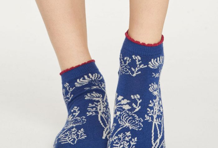 Wild Flower Frill Ankle Bamboo Socks Sapphire Blue - Thought Clothing