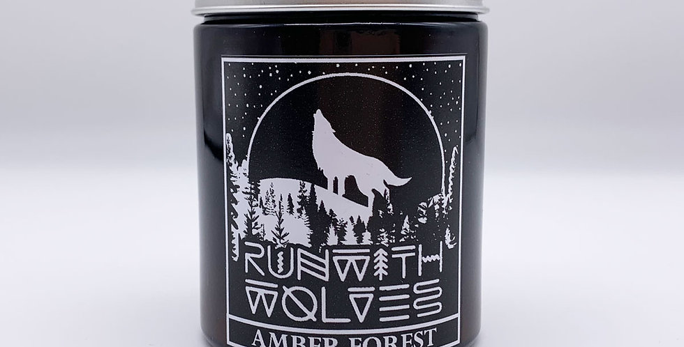 Amber Forest Soy Wax Candle 180ml - Run With Wolves