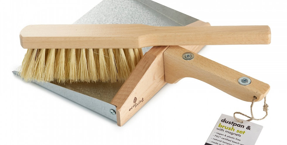 Dust Pan & Brush Set With Magnets - Eco Living