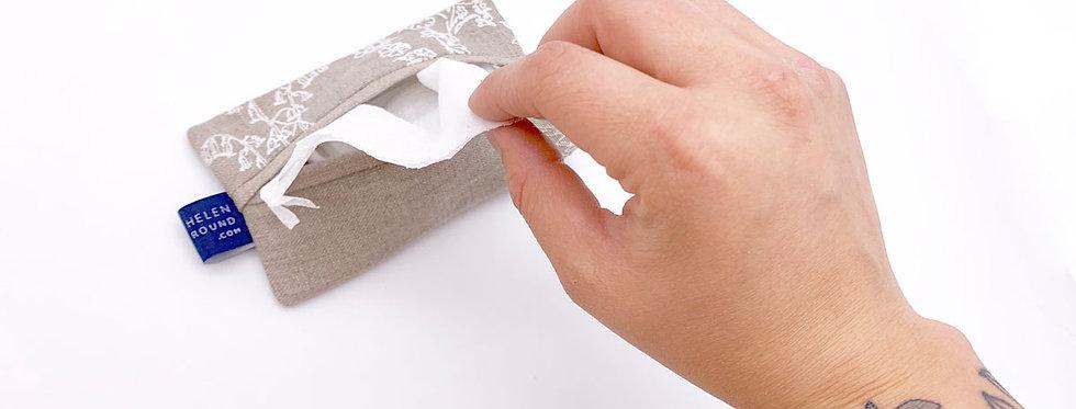 Linen Tissue Pouch - Helen Round