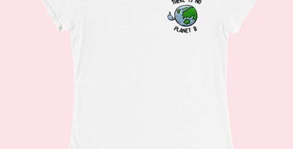 PLANET B Womens Embroidered Tee White - SassySpud