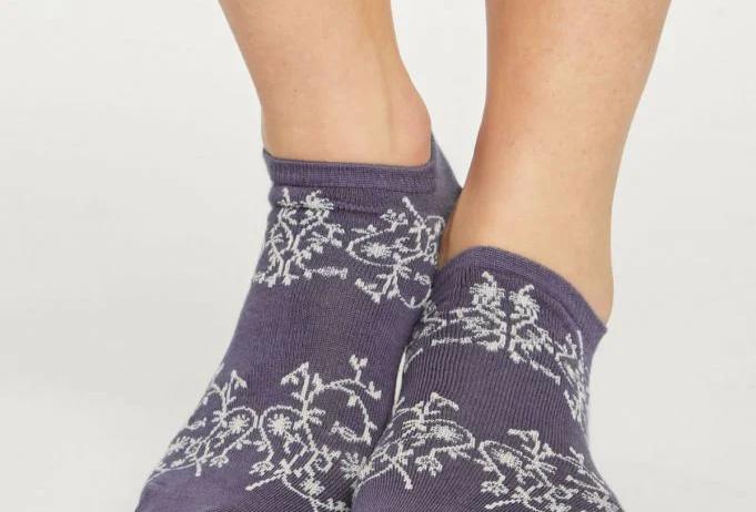 Lattice Trainer Socks Royal Purple - Thought Clothing
