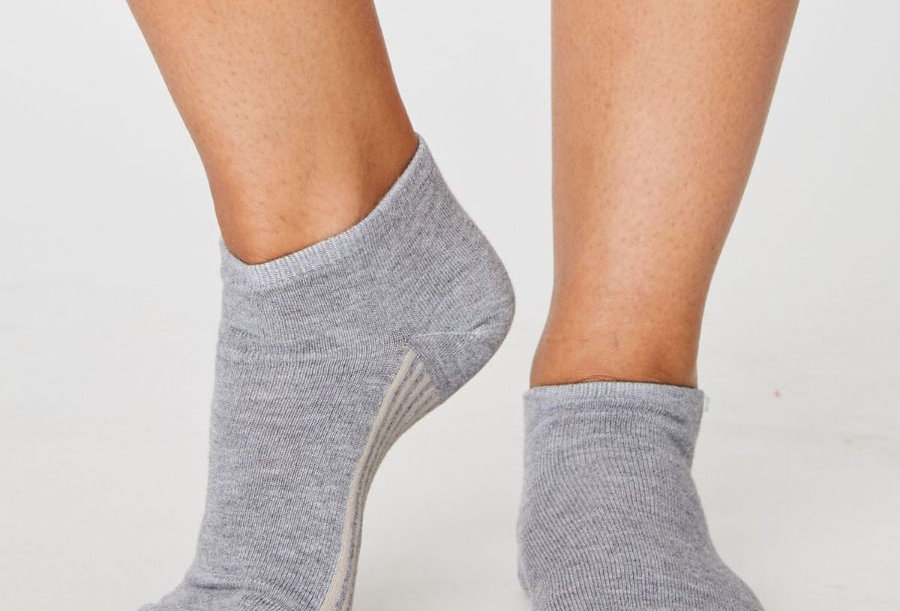 Solid Jane Ankle Socks Grey - Thought Clothing
