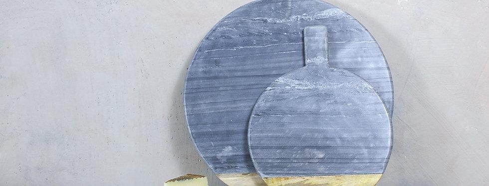 Bwari Round Marble Board Large Grey - Nkuku