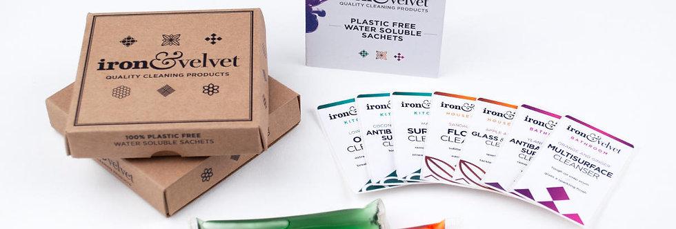 Starter Pack 2 - x5 Plastic Free Cleaning Sachets - Iron & Velvet