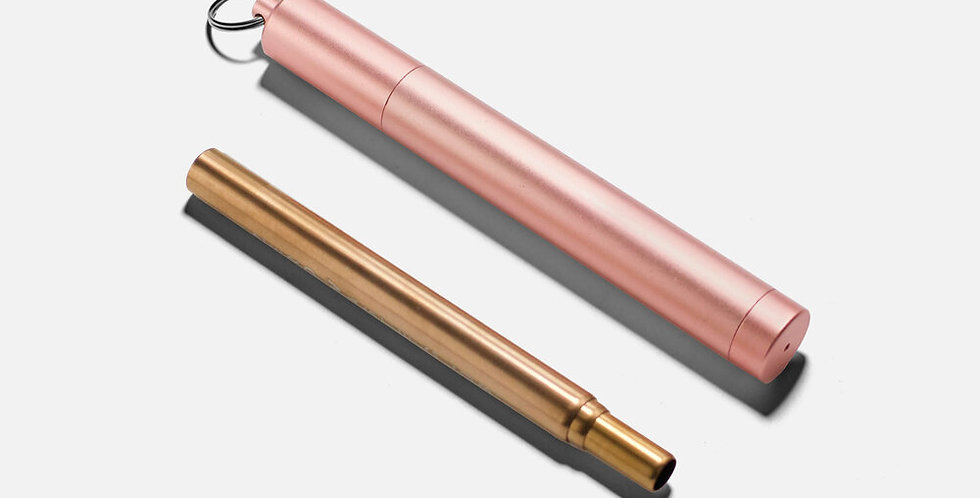 Collapsible Metal Straw & Travel Case Rose Gold - Zero Waste Club