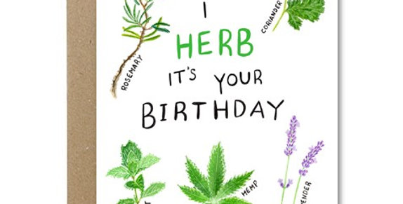 I Herb It's Your Birthday Card - Rose & Daff