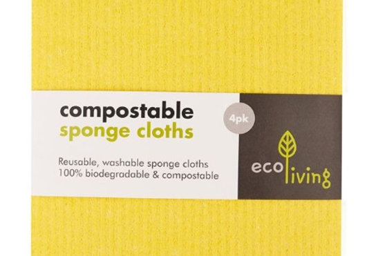 Compostable UK Sponge Cleaning Cloths - Yellow x4 - Eco Living