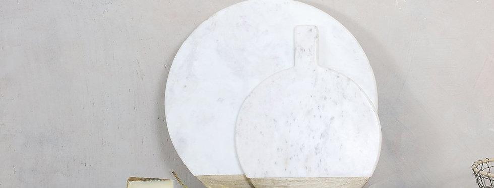 Bwari Round Marble Board Large White - Nkuku