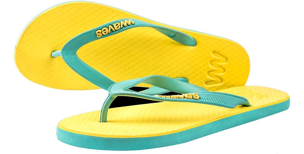 Plastic Free Flip Flops Women's Yellow - Waves UK