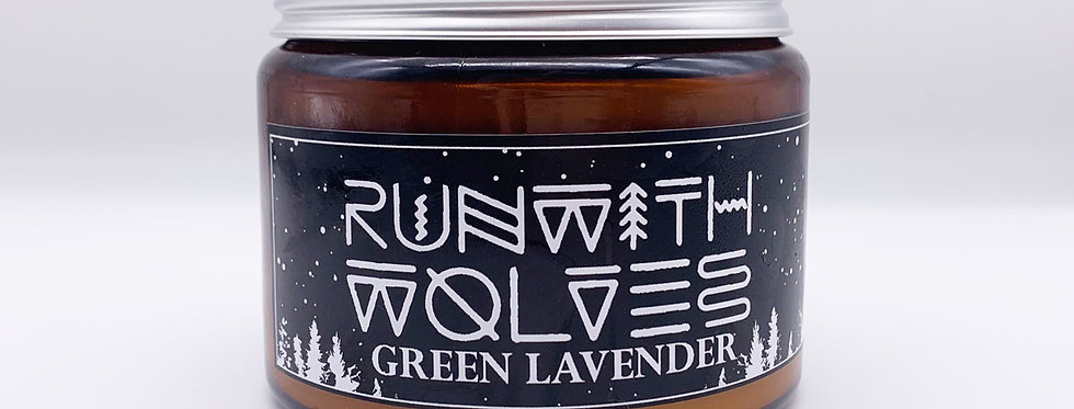 XL Green Lavender Soy Wax Candle 500ml - Run With Wolves
