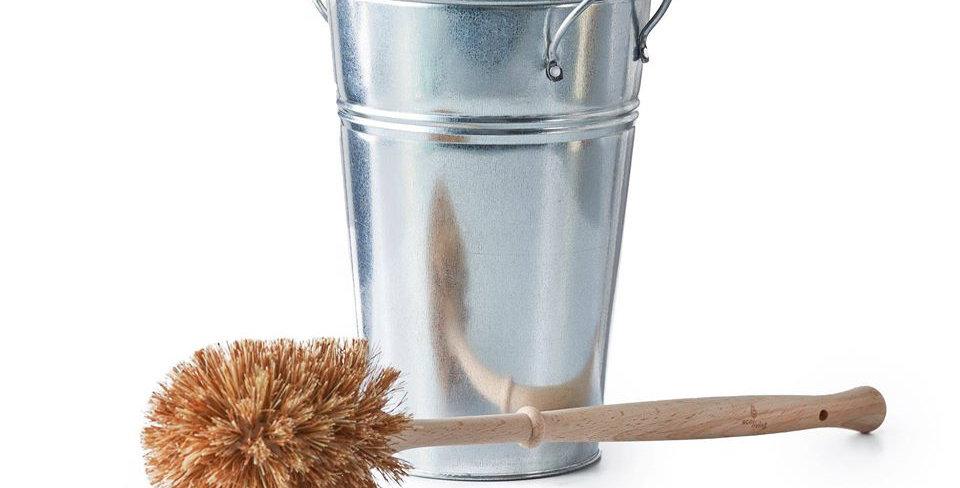 Toilet Brush & Holder Set Silver Small Brush - Eco Living