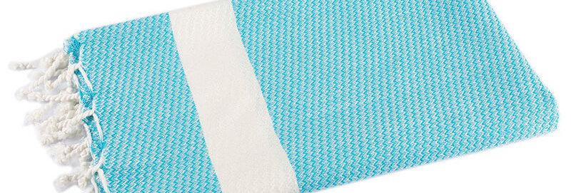 Bamboo Peshtemal Towel Turquoise - Cotton & Olive